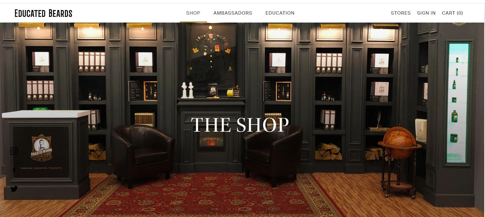 The trade show booth, as it appears on the Educated Beards website.