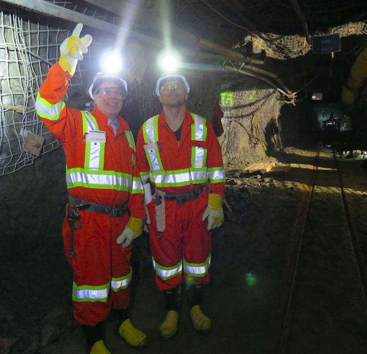 Acoustic Zoom CEO Jacques Guigné, left, and Vice-President Adam Gogacz at Red Lake Mines.