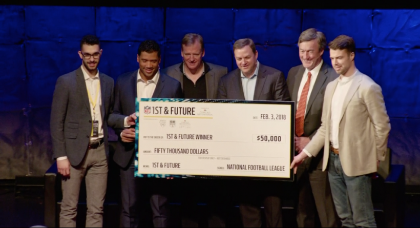 The Curv team receives their award from NFL lumniaries like Russell Wilson and Roger Goodell.