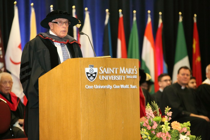 Gerry Pond receiving his honorary doctorate from SMU