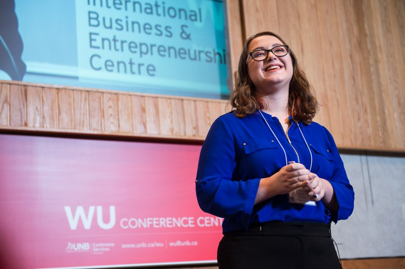Holly Ayles won the ideas category at the RBC Student Pitch Competition at UNB. Photo by Cameron Fitch/Photo UNB.