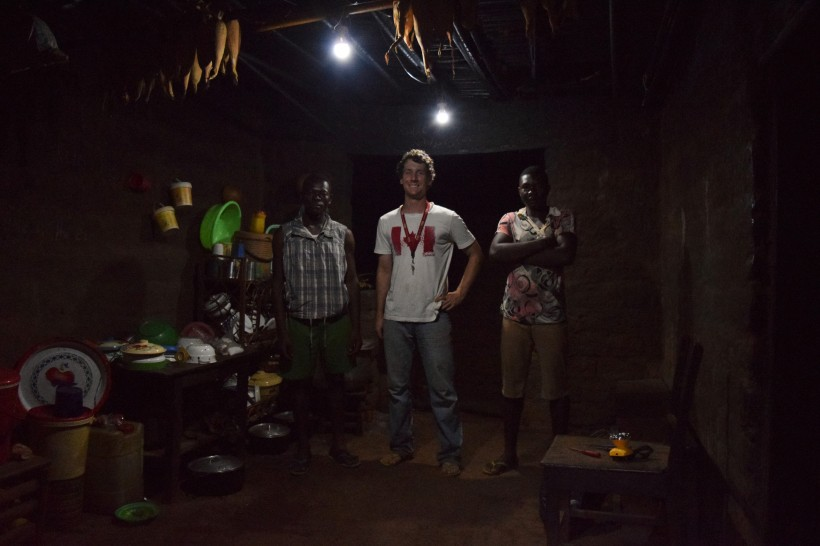 Caleb Grove, centre, is helping to bring sustainable electicity to Mbissa, Cameroon.