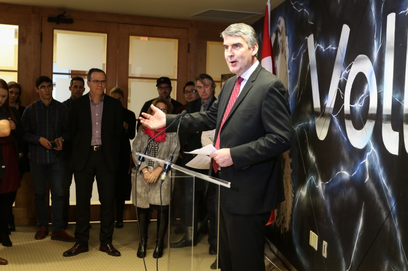 Premier Stephen McNeil at Volta on Tuesday.