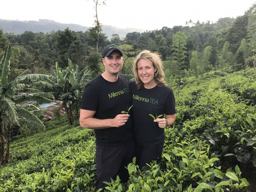 Rory and Tracy Bell visiting tea fields in Sri Lanka.