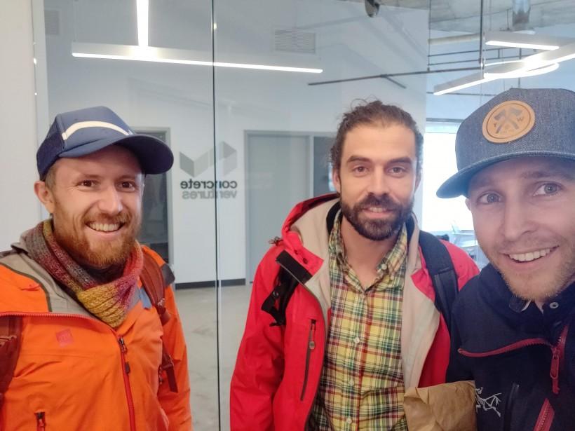 Ben Sanders, left, Luke DeCoste and Wes George