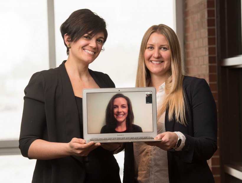 Vanessa Paesani, left, and Jenelle Sobey are joined virtually by Jess Peters.