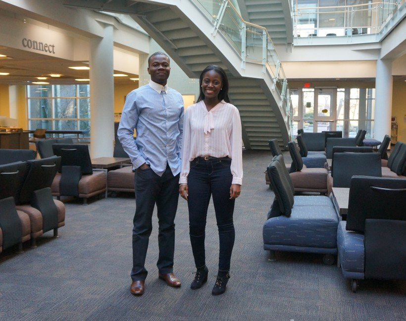 SeeMePly Co-founders Samuel Ayanlaja, left, and Shawn Simamba pose at St. Mary's University.