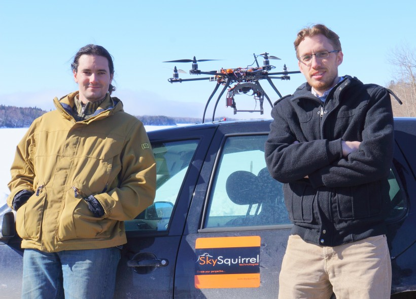 Richard Van der Put, right, poses with Co-Founder Stephane Sogne in the early days of SkySquirrel.