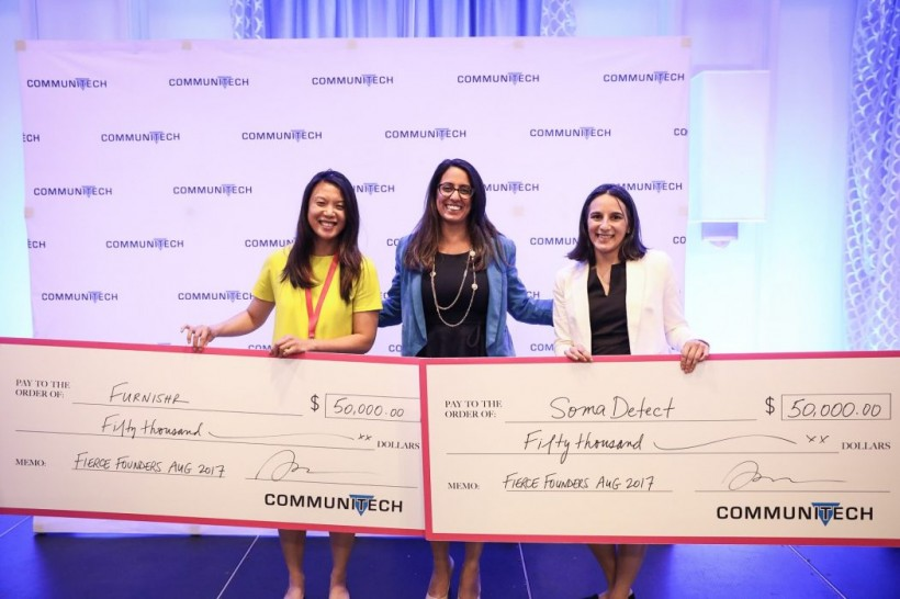 Bethany Deshpande, right, landed a big cheque (literally) at Fierce Founders last year.