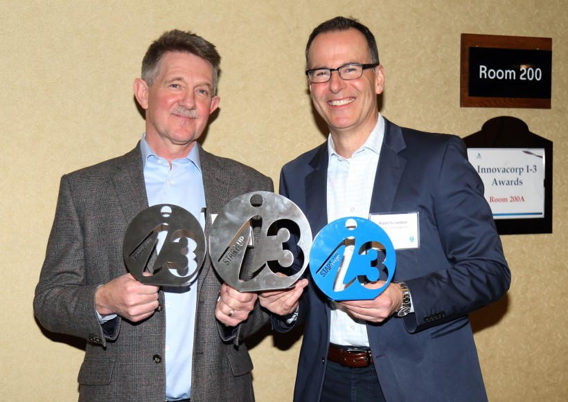 Peter Vinall, left, and Robert Richardson of Sustane Technology show  their hardware.