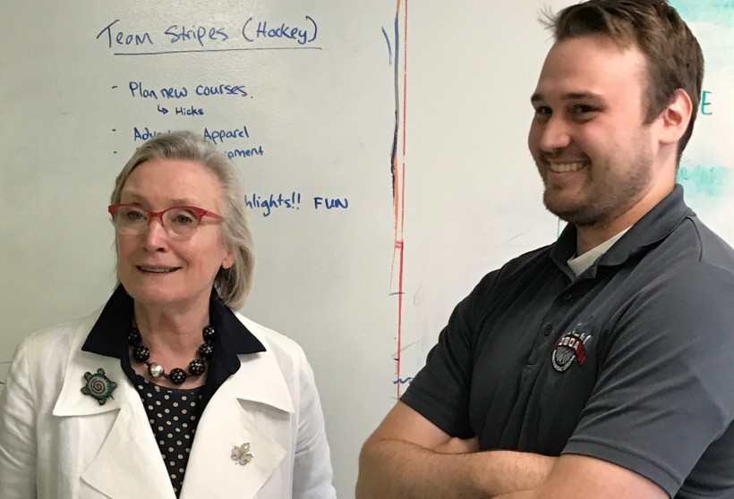 Federal Minister Carolyn Bennett with Brandon Bourgeois, CEO of Venn Garage participant Team Stripes.