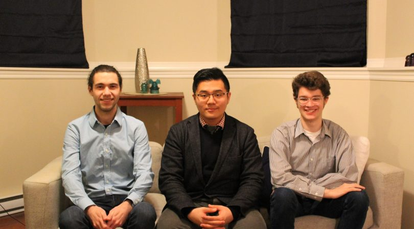 The Turret Psychoanalytics team: Chris Levesque, left, Jingyang Zuo, and Benjamin Arnfast. Image: Submitted