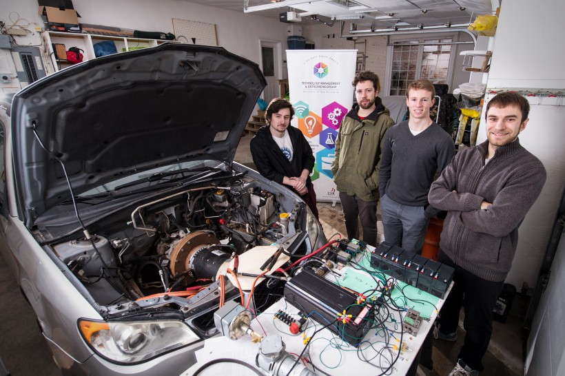 The Potential Motors team: Michael Barnhill, left, Nick Dowling, Samuel Poirier and Isaac Barkhouse. (Photo by Rob Blanchard)