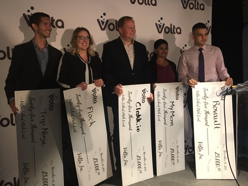 Aishwarya Ravichandran, second for right, poses with other Volta Cohort.