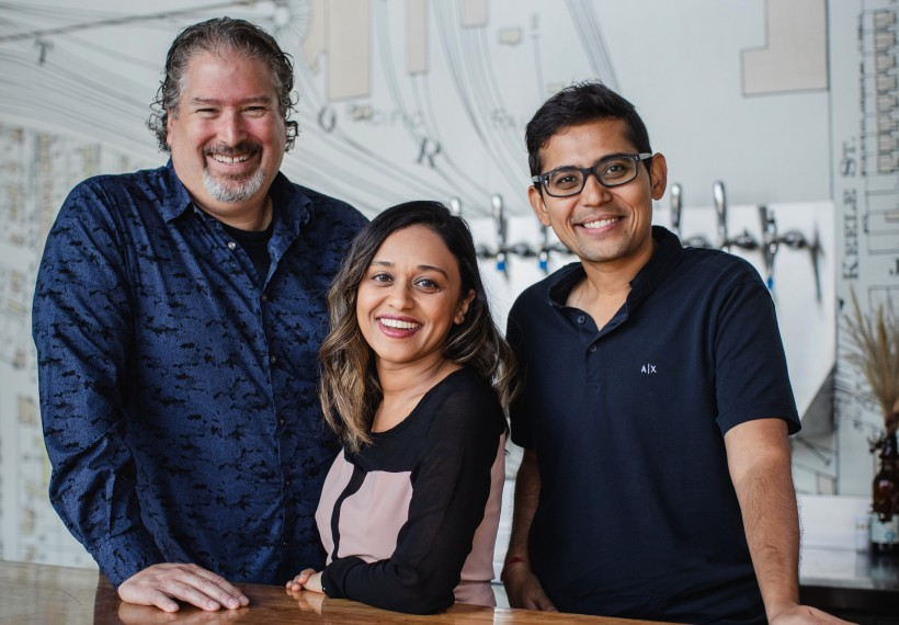 The Wagepoint leadership team: Chief Architect Ryan Dineen, Chief Product Officer Leena Thampan, and CEO Shrad Rao.