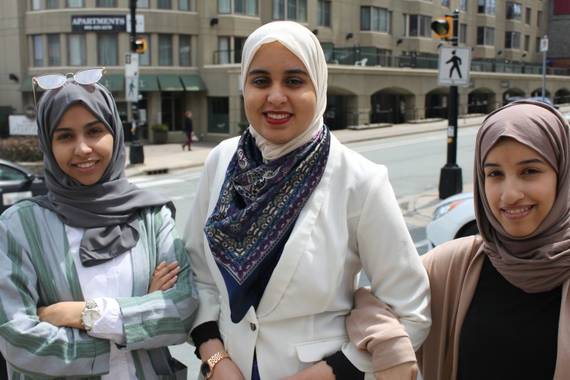 Manar Alamri, left, Hayam Mahmoud-Ahmed and Batlah Alnemer are finding new ways to help stroke patients. (Photo: Jennifer Lee)