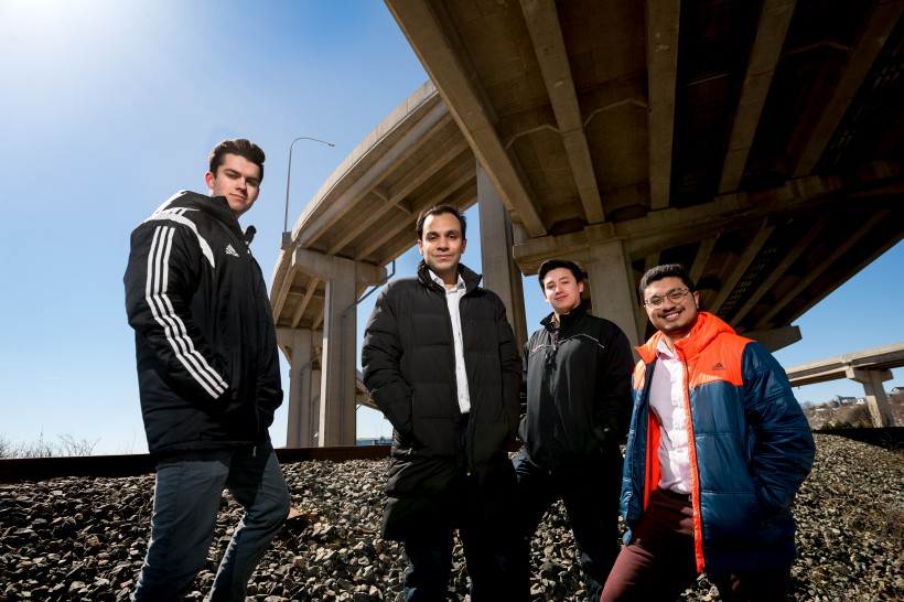 These UNB students have proposed an idea for a smart highway design. (Photo: Joy Cummings)